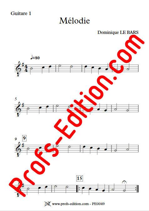 Mélodie - Trios Guitare - LE BARS D. - app.scorescoreTitle