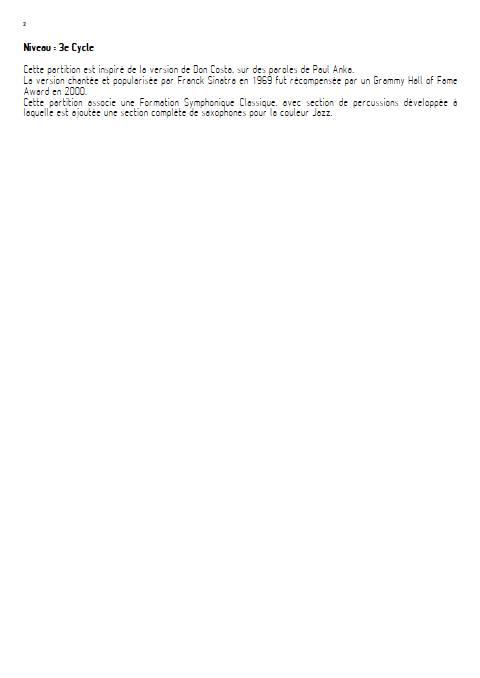 My Way - Orchestre Symphonique - FRANCOIS C. - Educationnal sheet