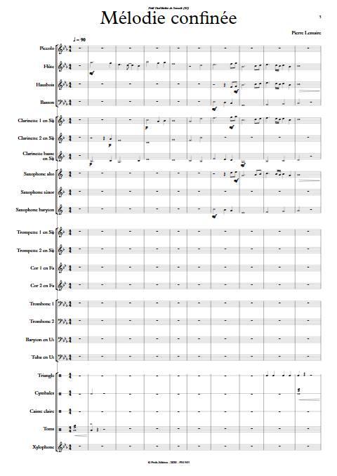 Mélodie confinée - Orchestre d'harmonie - LEMAIRE P. - app.scorescoreTitle
