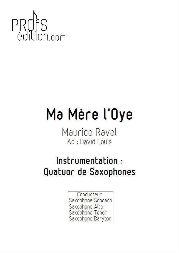 Ma mère l'Oye, Pavane... - Quatuor Saxophones - RAVEL M. - front page