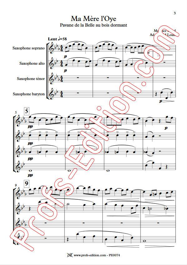 Ma mère l'Oye, Pavane... - Quatuor Saxophones - RAVEL M. - app.scorescoreTitle
