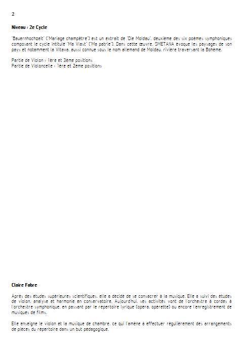 Ma Vlast - Violon Violoncelle - SMETANA B. - Educationnal sheet