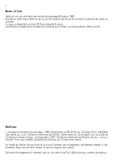 MacGyver - Orchestre d'Harmonie - EDELMAN R. - Educationnal sheet