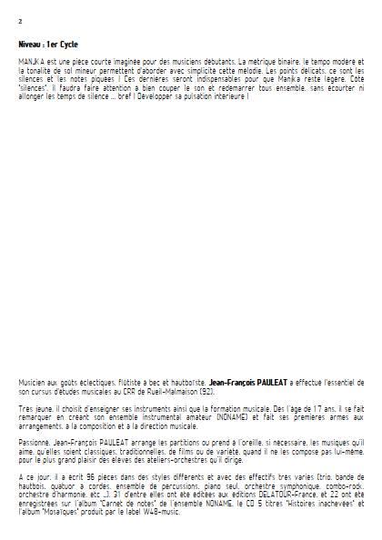 Manjka - Ensemble Variable - PAULEAT J. F. - Educationnal sheet