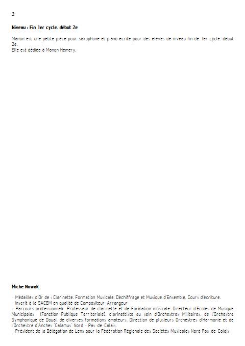Manon - Saxophone & Piano - NOWAK M. - Educationnal sheet