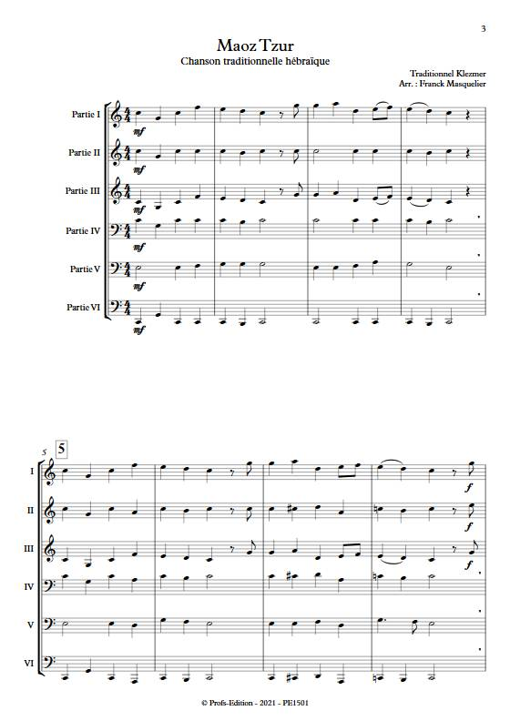 Maoz Tzur - Ensemble variable - TRADITIONNEL KLEZMER - app.scorescoreTitle