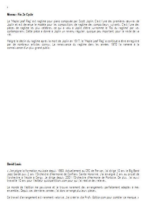 Maple leaf rag - Orchestre d'Harmonie - JOPLIN S. - Educationnal sheet