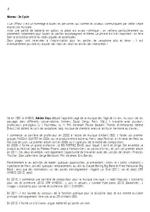 Marc the Whistler - Quatuor de Saxophones - VEYS A. - Educationnal sheet