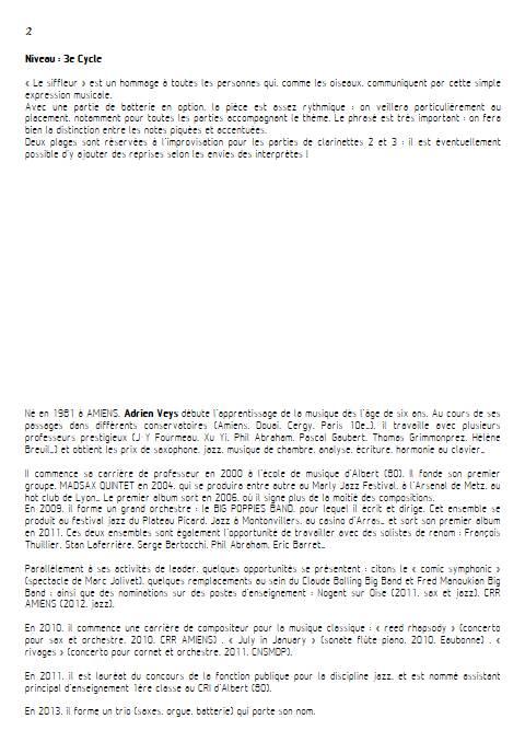Marc the Whistler - Quatuor de Clarinettes - VEYS A. - Educationnal sheet