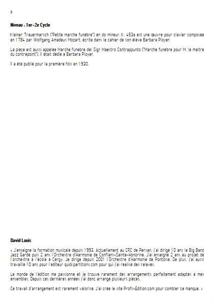 Marche Funèbre - Ensemble Variable - MOZART W. A. - Educationnal sheet