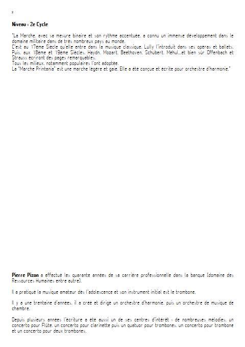 Marche Printania - Orchestre d'Harmonie - PIZON P. - Educationnal sheet