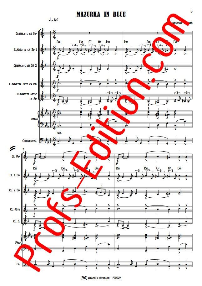 Mazurka in Blue - Septet Clarinettes Piano - VAN DAM J. C. - app.scorescoreTitle