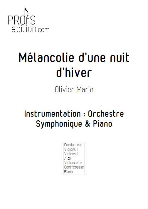 Mélancolie - Orchestre Symphonique & Piano - MARIN O. - front page