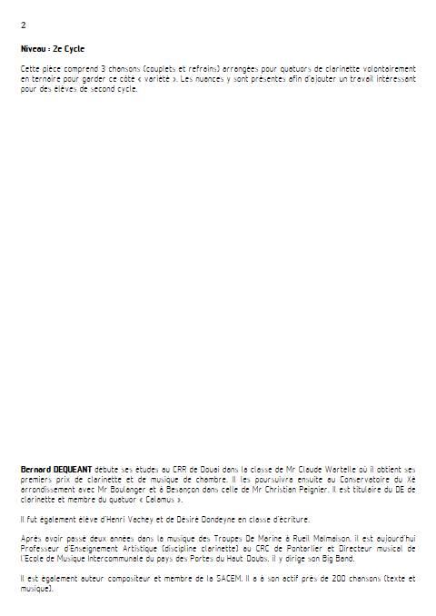 Medley - Quatuor de Clarinettes - DEQUEANT B. - Educationnal sheet
