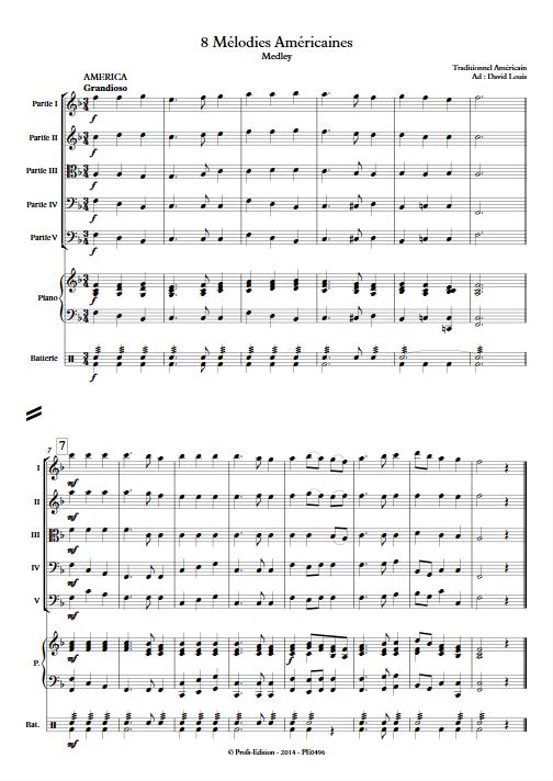 8 Mélodies Américaines - Ensemble à Géométrie Variable - TRADITIONNEL AMERICAIN - app.scorescoreTitle