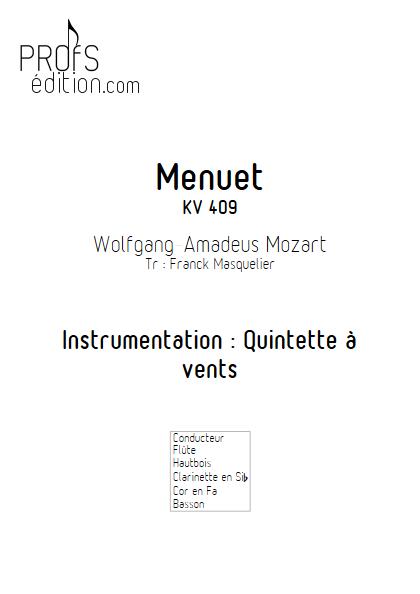 Menuet KV 409 - Quintette à vents - MOZART W. A. - front page