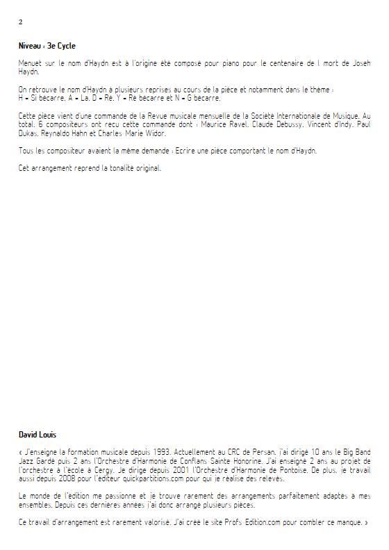 Menuet sur le nom d'Haydn - Quatuor de Saxophones - RAVEL M. - Educationnal sheet