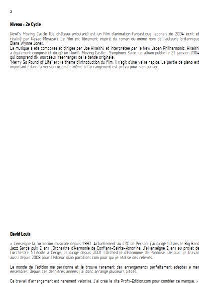 Merry go round of life (Le chateau ambulant) - Ensemble Variable - HISAISHI J. - Educationnal sheet