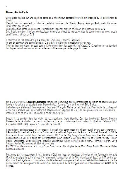Min E Mood - Ensemble de musique actuelle - COLOMBANI L. - Educationnal sheet