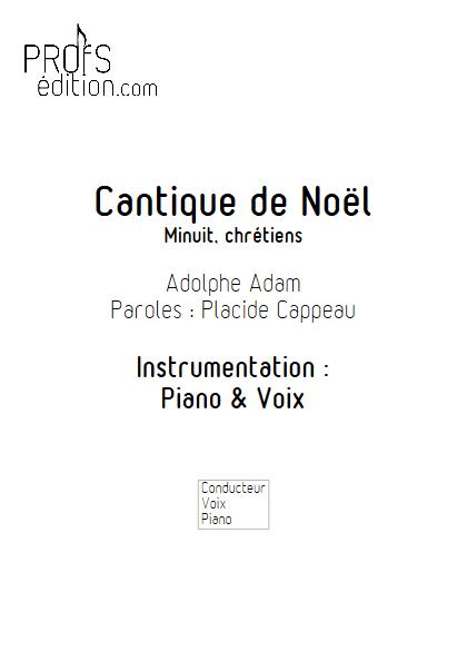 Minuit Chrétien - Piano Voix - ADAM A. - front page