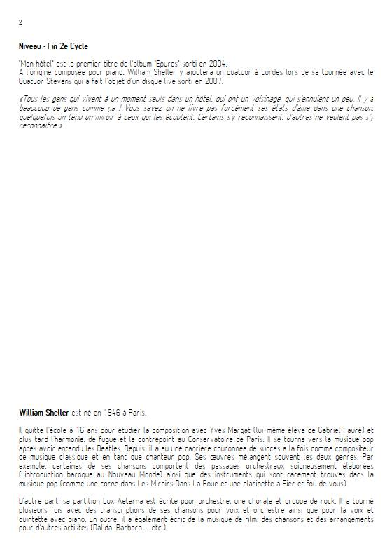 Mon Hôtel - Voix & Quintette à cordes - SHELLER W. - Educationnal sheet