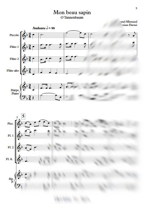 Mon beau Sapin - Ensemble de Flûtes - TRADITIONNEL ALLEMAND - app.scorescoreTitle