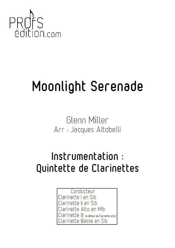 Moonlight Serenade - Quintette de Clarinettes - MILLER G. - front page
