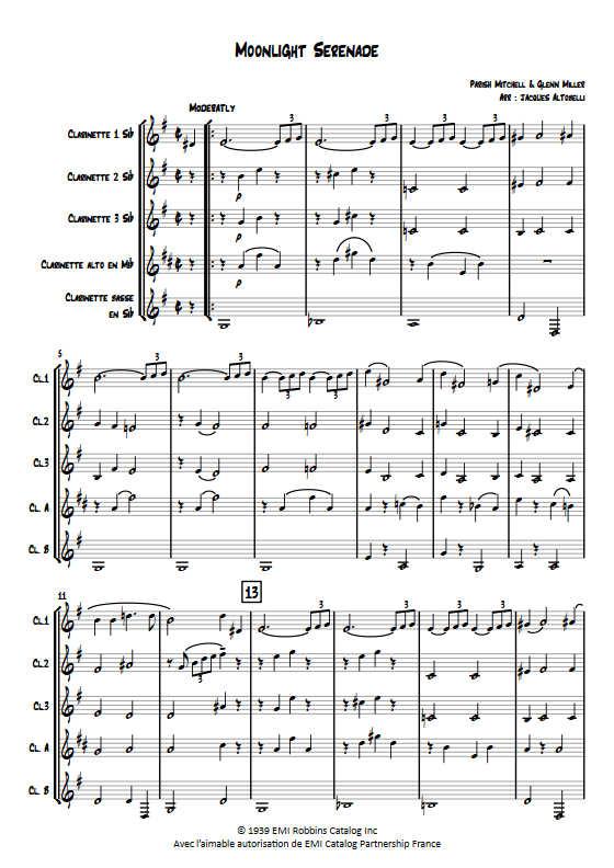 Moonlight Serenade - Quintette de Clarinettes - MILLER G. - Educationnal sheet