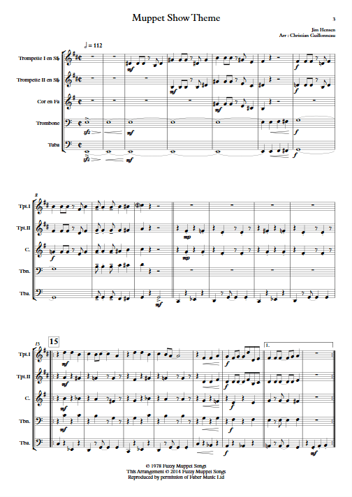 The Muppet Show - Quintette de Cuivres - HENSON J. - app.scorescoreTitle