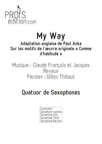 My Way - Quatuor de Saxophones - FRANCOIS C. - front page