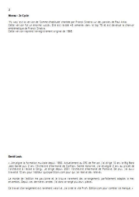 My Way - Piano Voix - FRANCOIS C. - Educationnal sheet