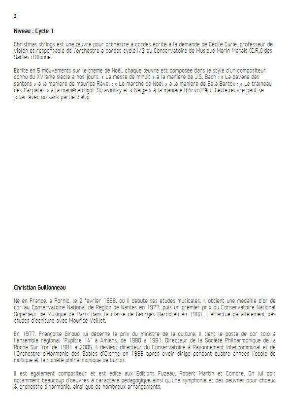 Neige - Orchestre Cordes - GUILLONNEAU C. - Educationnal sheet