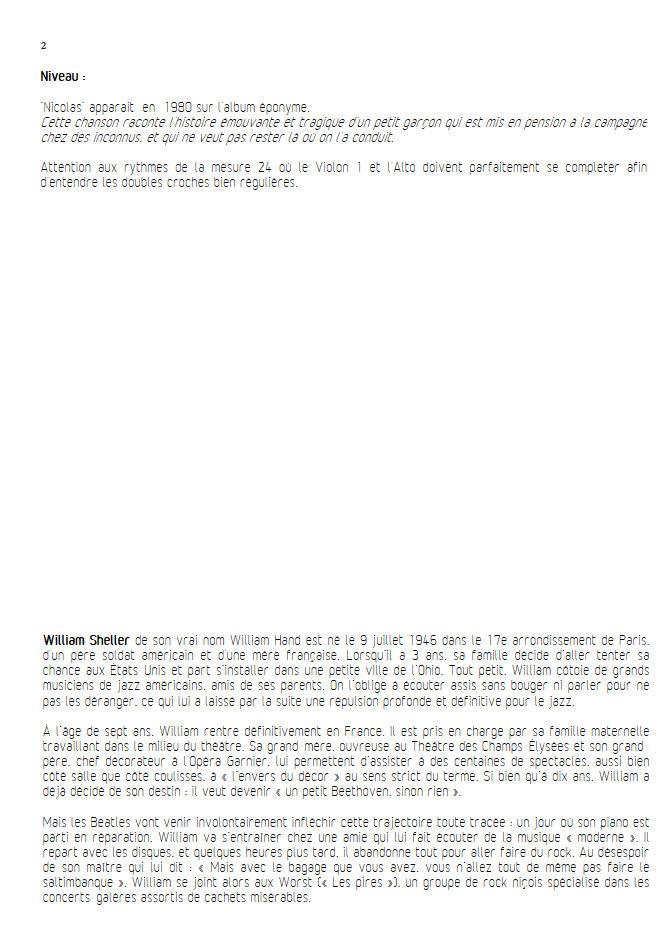 Nicolas - Chant et Quintette à Cordes - SHELLER W. - Educationnal sheet