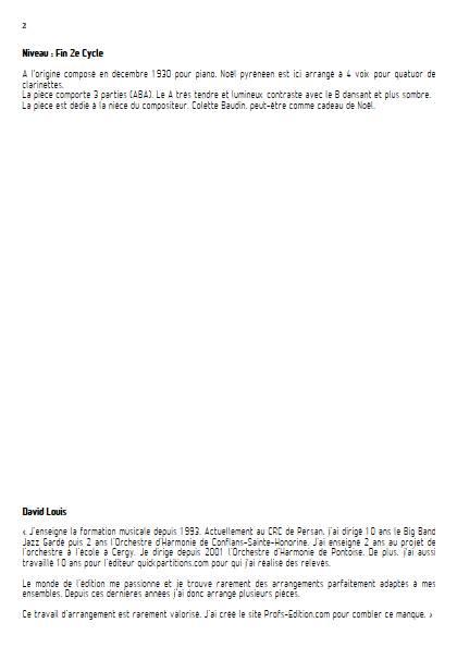 Noël Pyrénéen - Quatuor de Clarinettes - BONNAL E. - Educationnal sheet