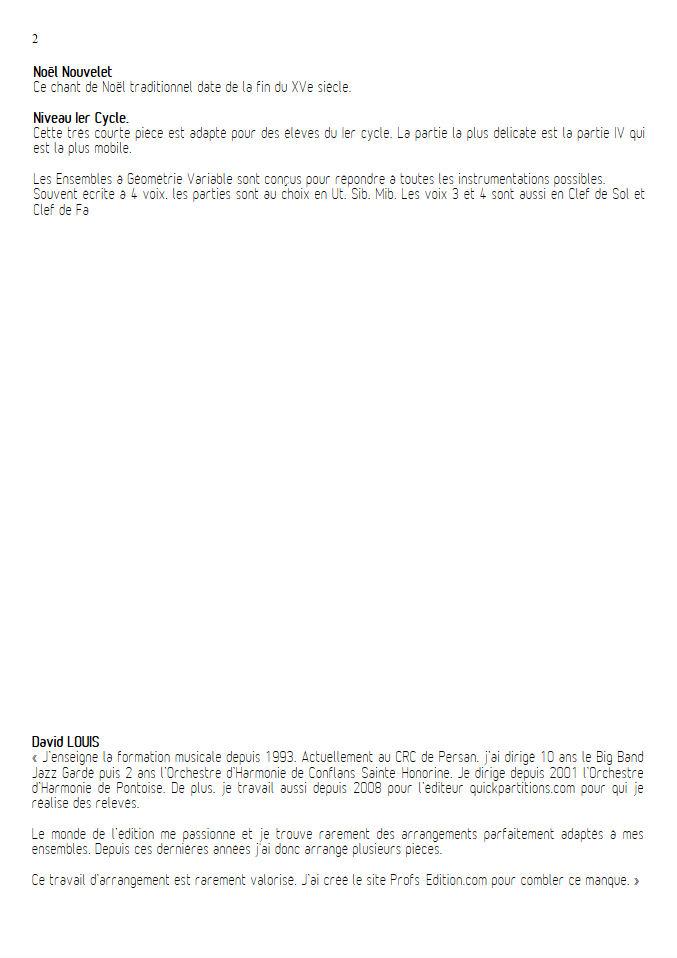 Noël nouvelet - Ensemble Géométrie Variable - TRADITIONNEL - Educationnal sheet