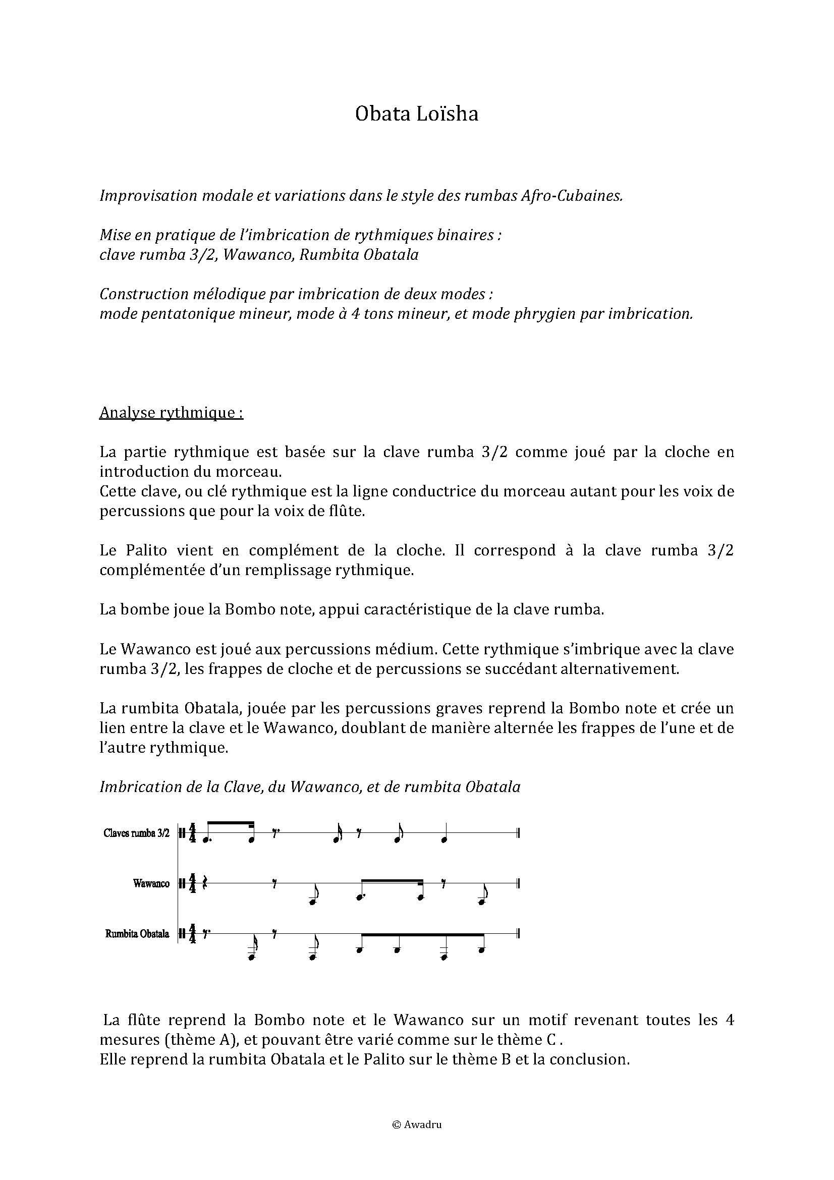 Obata Loïsha - Quatuor Flûte Percussions - LEDROIT F. - Educationnal sheet