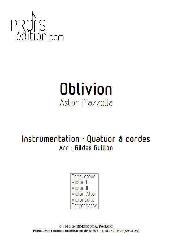 Oblivion - Quatuor à Cordes - PIAZZOLLA A. - front page