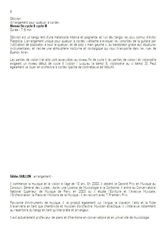 Oblivion - Quatuor à Cordes - PIAZZOLLA A. - Educationnal sheet