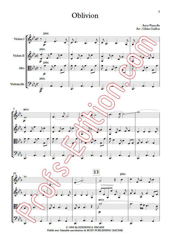 Oblivion - Quatuor à Cordes - PIAZZOLLA A. - app.scorescoreTitle
