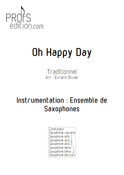 Oh happy Day - Ensemble de Saxophones - GOSPEL - front page