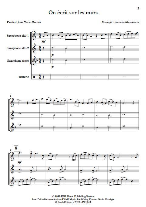 On écrit sur les murs - Trio de Saxophones - MUSUMARRA R. - app.scorescoreTitle