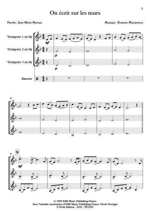 On écrit sur les murs - Trio de Trompette - MUSUMARRA R. - app.scorescoreTitle