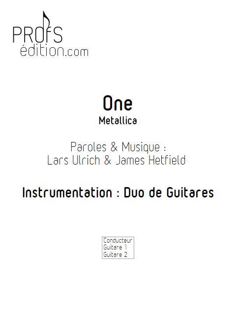 One - Duo de Guitares - METALLICA - front page