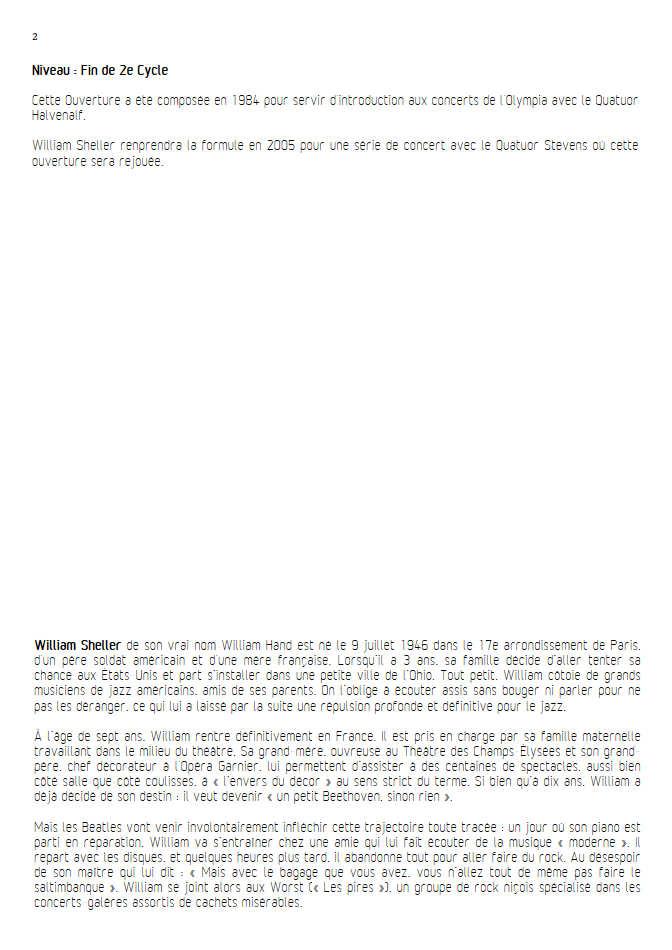 Ouverture - Piano & Quatuor à Cordes - SHELLER W. - Educationnal sheet