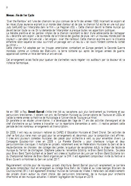 Over the rainbow - Quatuor de Clarinettes - ARLEN H. - Educationnal sheet