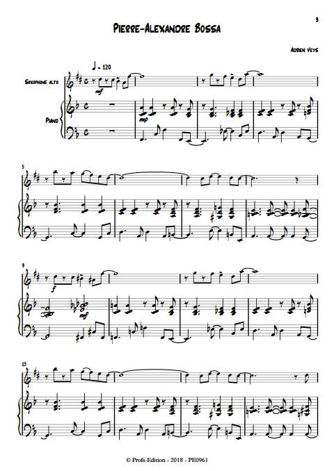 Pierre-Alexandre Bossa - Duo Saxophone Piano - VEYS A. - app.scorescoreTitle