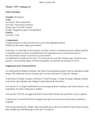 Bach en Couleurs (6 petites pièces) - Analyse Musicale - CHARLIER C. - Educationnal sheet