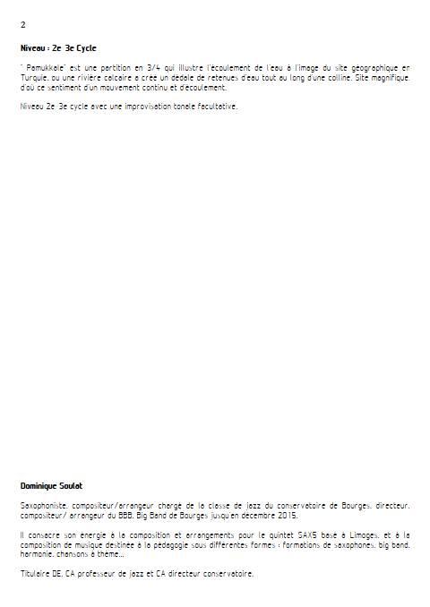 Pamukkale - Duo de Saxophones - SOULAT D. - Educationnal sheet