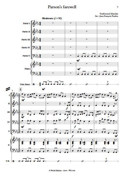 Parson's farewell - Ensemble Variable - TRADITIONNEL IRLANDAIS - app.scorescoreTitle