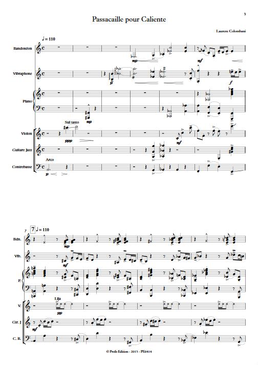 Passacaille pour Caliente - Sextuor - COLOMBANI L. - app.scorescoreTitle